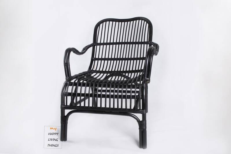 Set : Lounge chair + little black table rotan black.
