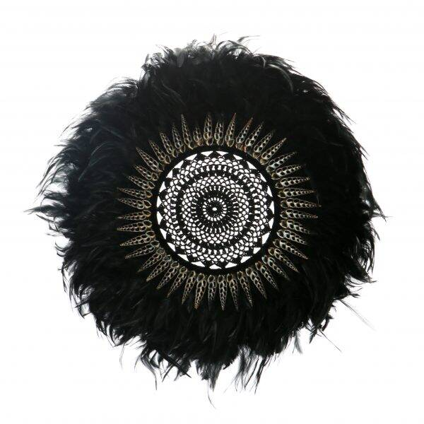 Feather - Juju Round - chicken feathers With Shells And Crochet Black