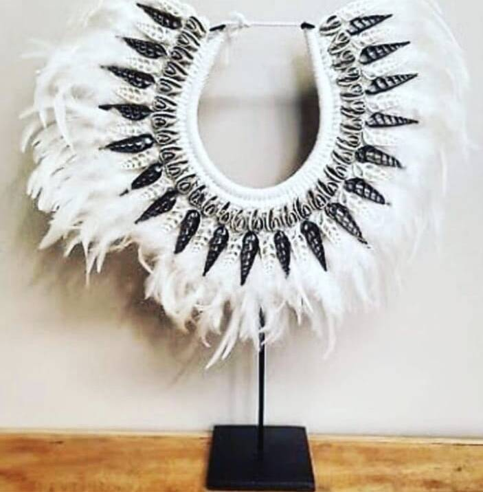shell Bead and Feather Tribal Necklace