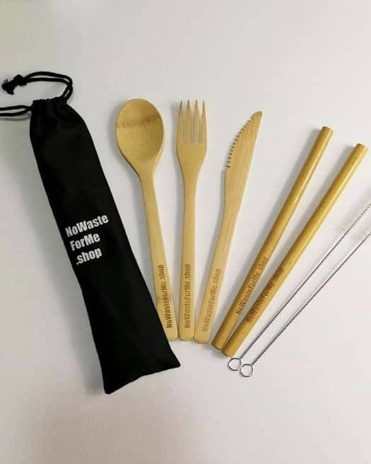 Bag with cutlery set, 2 X straw, 2 X cleaner