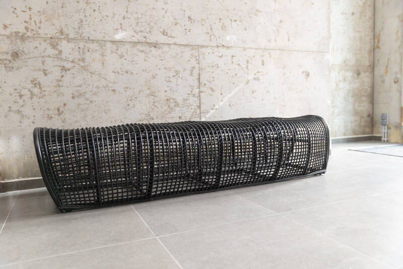 Bench/hand woven rattan/natural or black