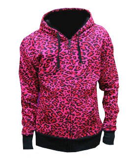 [33052]  Hooded sweater met roze luipaardprint