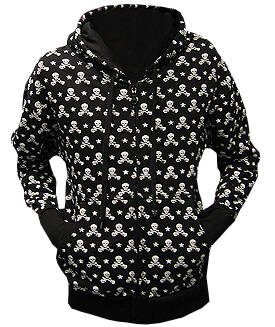 [5022] Zwarte zipped hooded sweater