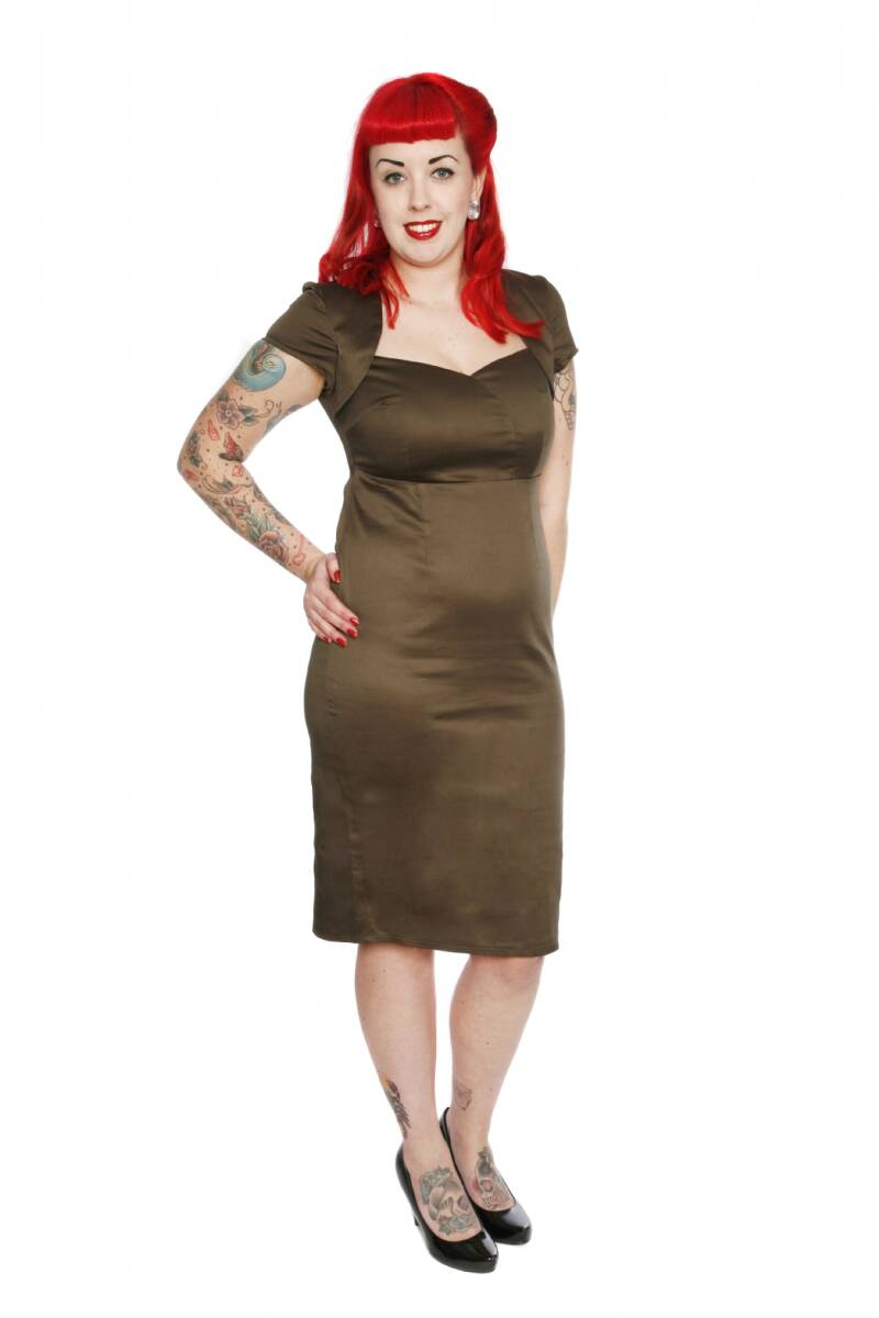 [17065]  Olijfgroene Regina dress Classic van Collectif