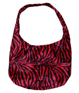 [7056]  Fluffy tas in rood/zwarte zebraprint
