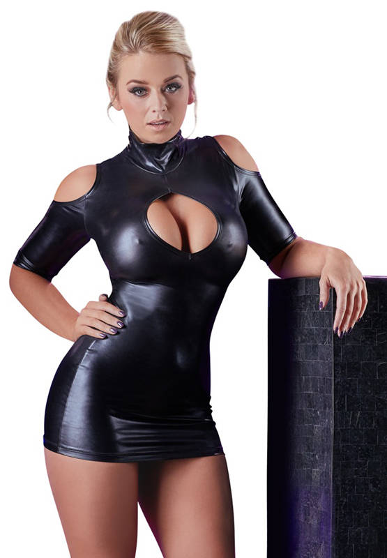 Cold Shoulder Wetlook Mini Jurkje - Zwart
