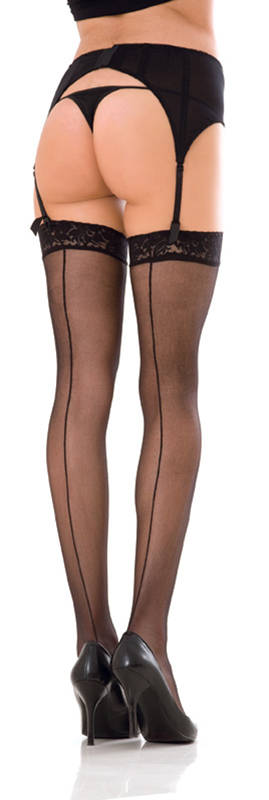 Lace top sheer thigh high w. backseam