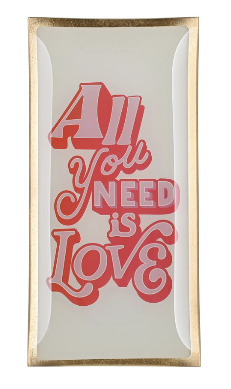 Love plates - All you need is love - Wit/Roos - Glas - Large - 1044005013