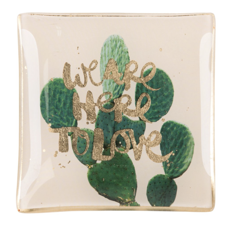 Love plates - We are here to love - Beige/Groen - Glas - Smal - 77603