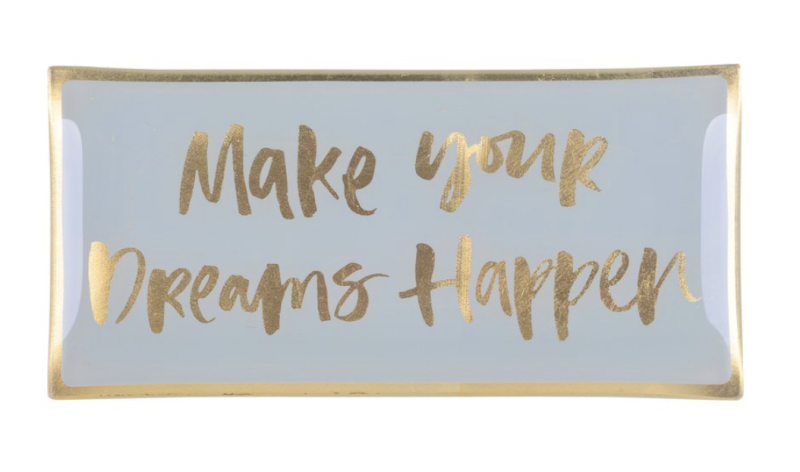 Love plates - Make your dreams happen - Grijs/Goud - Glas - Large - 77840