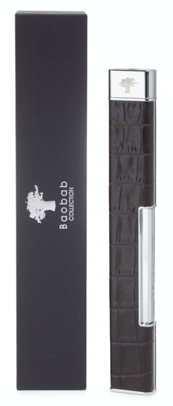 Aansteker - Lighter - Leather Croco - Kastanje bruin - Baobab Collection