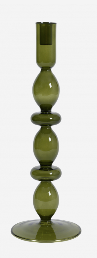 Candle Holder - Large - Recycled Glass - Green - UNC