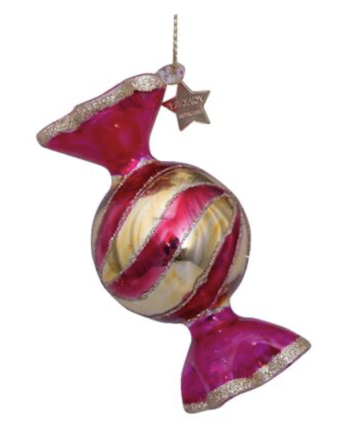 Vondels - Ornament glass - Red transparant bauble candy - H7cm - 8212810070018