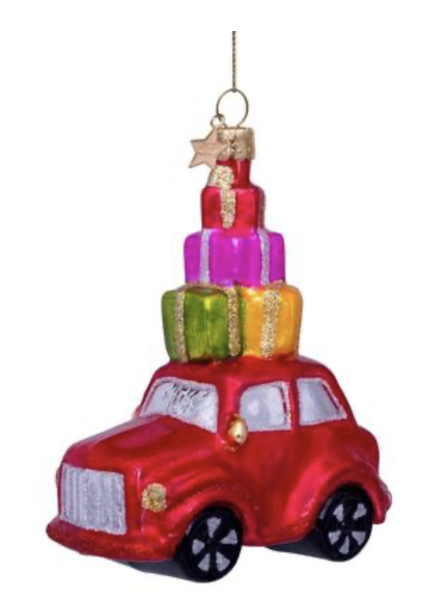 Vondels - Ornament glass - Red car w/presents on top - H11.5cm - 1202740115030