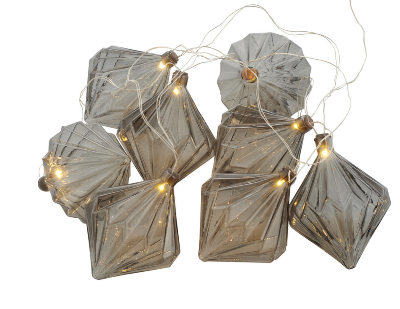 Nellie - Garland - Glass - 8 led lampen - 1,8M - Grey - Sirius - 68356