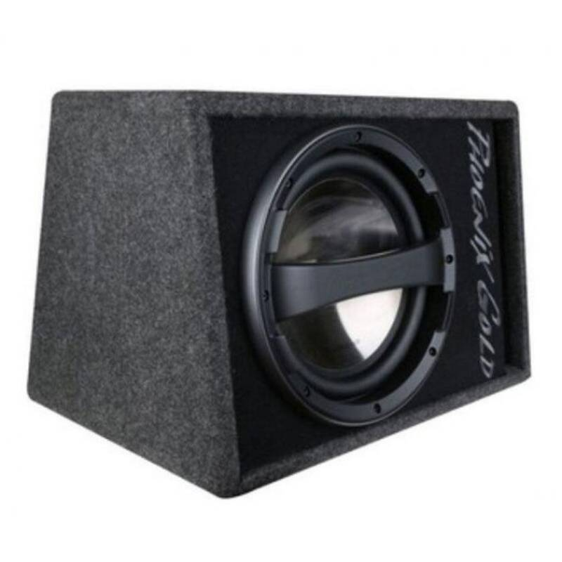 Phoenix Gold Z110ABV2 25cm 80W active Subwoofer in bass reflex cabinet (incl. cable kit & remote control)