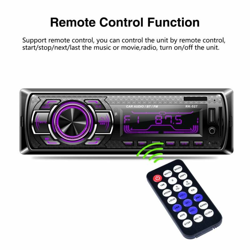 Radio RK527 LSLYA 7 color BacKlight car stereo 12V Bluetooth 1 channel FM auxiliary input receiver SD USB
