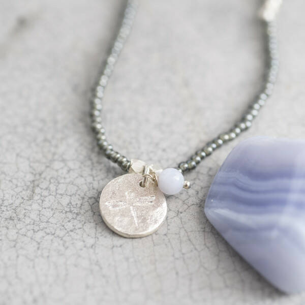 A Beautiful Story Truly Blauwe Agaat zilver ketting Libelle