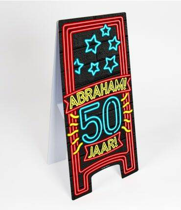 Abraham 50 jaar - warning sign neon