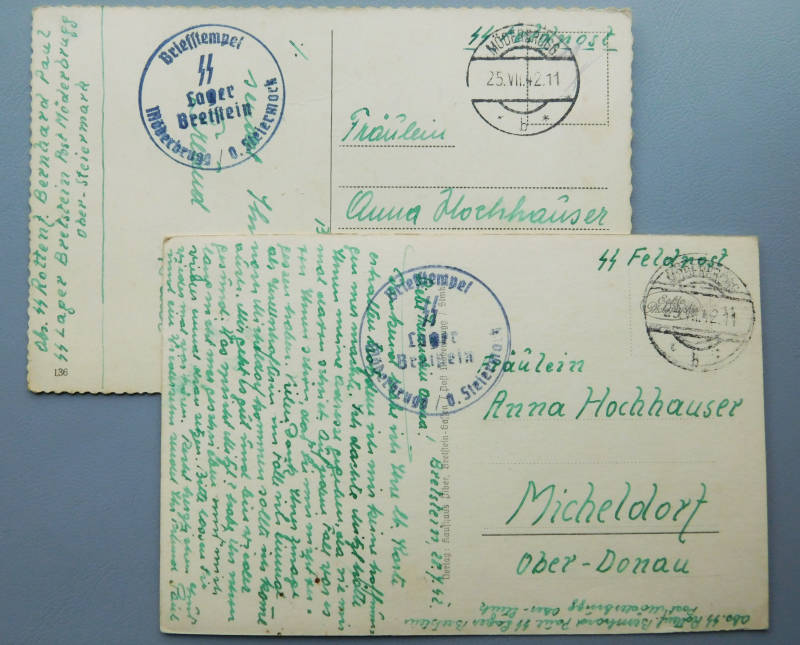 2x SS postcard, addressed to one person