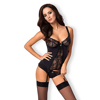 HEARTINA CORSET & THONG BLACK