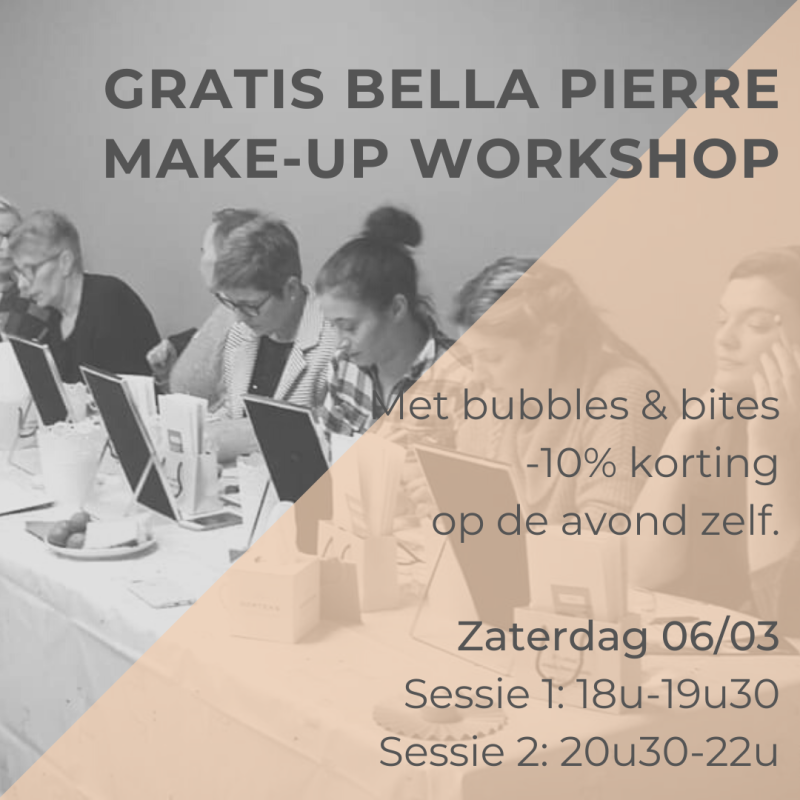 Bella Piere Makeup Workshop, za 6/03, 20u30-22u