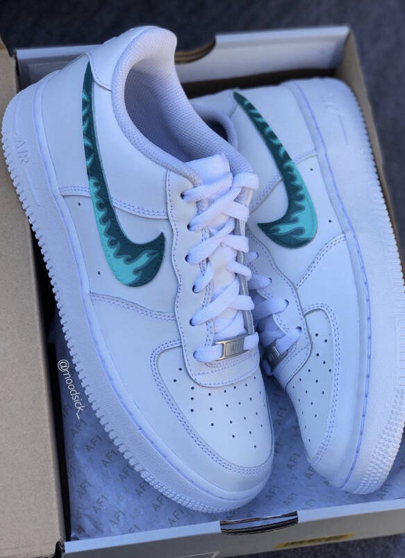 Nike air force 1 - custom sneakers - hand painted - fire flames customs - customized shoes