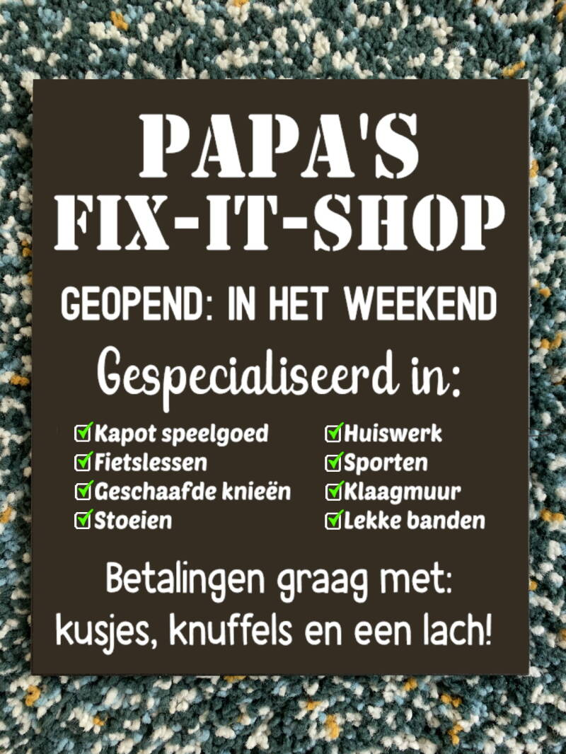 Tekstbord - Papa's Fix It Shop