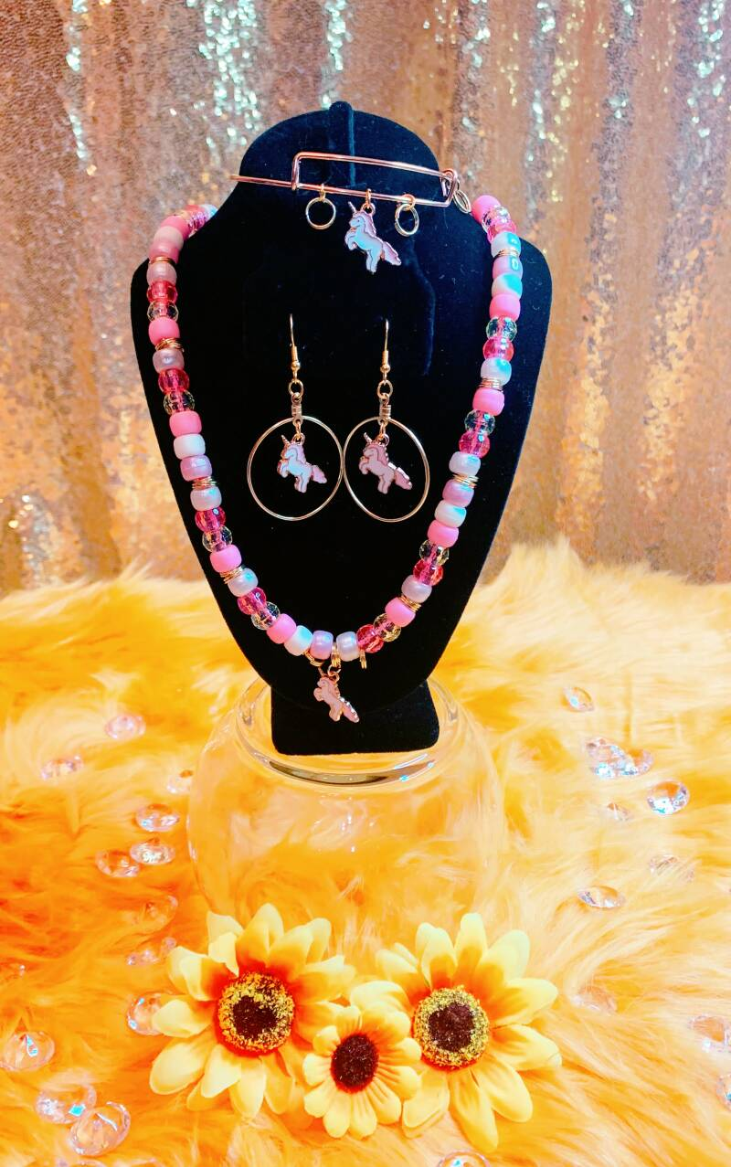 Girls Unicorn Necklace Set