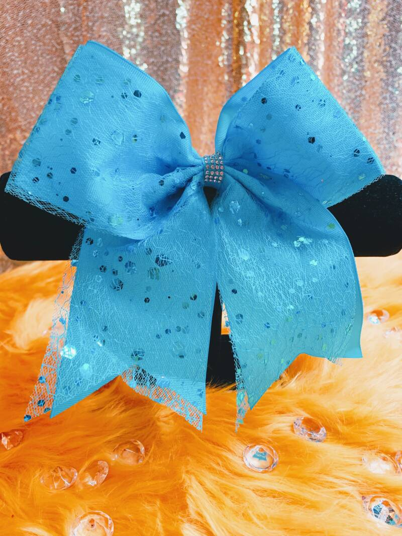 Blue Speckled Buzzing Hair Bow