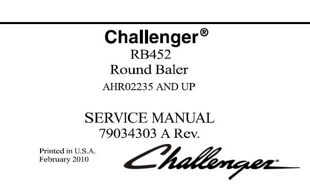 CH Challenger RB452 Round Baler Service Repair Manual (AHR02235 and up) SD