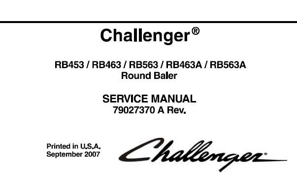 CH Challenger RB453, RB463, RB563, RB463A, RB563A Round Baler Service Repair Manual SD