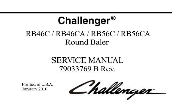 CH Challenger RB46C, RB46CA, RB56C, RB56CA Round Baler Service Repair Manual SD