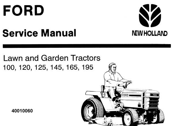 NHTR Ford New Holland 100, 120, 125, 145, 165, 195 Lawn and Garden Tractors Service Repair Manual SD