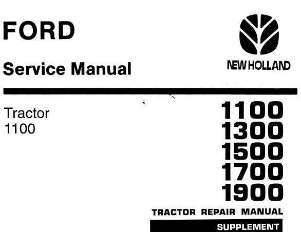NHTR Ford New Holland 1100, 1300, 1500, 1700, 1900 Tractors Service Repair Manual SD