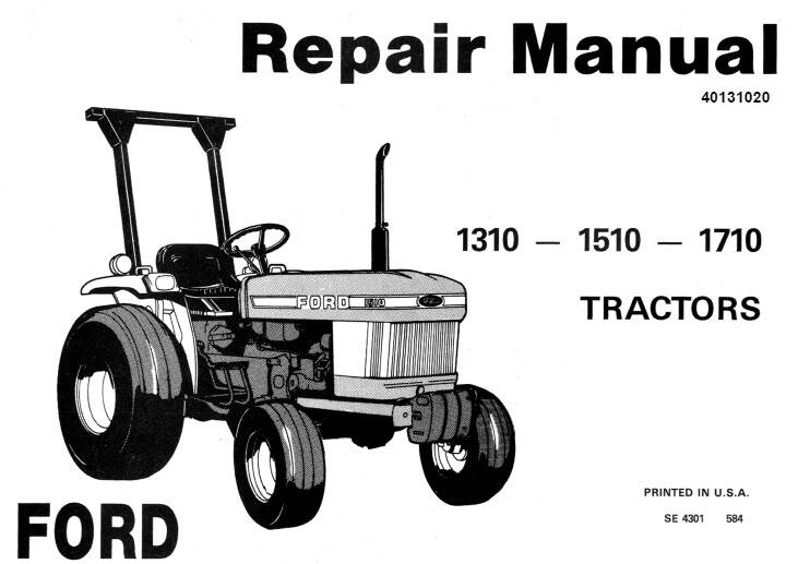 NHTR Ford New Holland 1310, 1510, 1710 Tractors Service Repair Manual SD