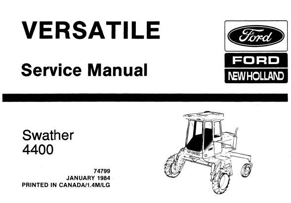 NHTR Ford New Holland 4400 (Versatile) Swather Service Repair Manual SD