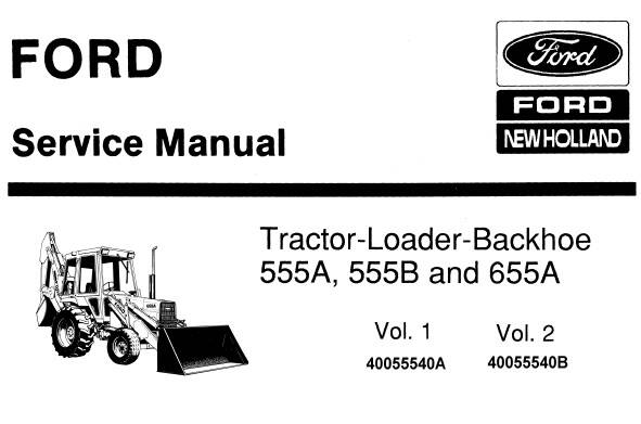 NHTR Ford New Holland 555A, 555B & 655A Tractor Loader Backhoe Service Repair Manual SD