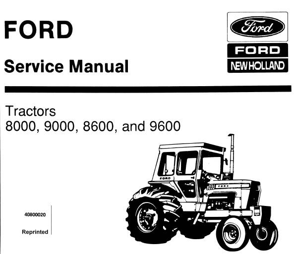 NHTR Ford New Holland 8000 , 9000 , 8600 , 9600 Tractors Service Repair Manual SD