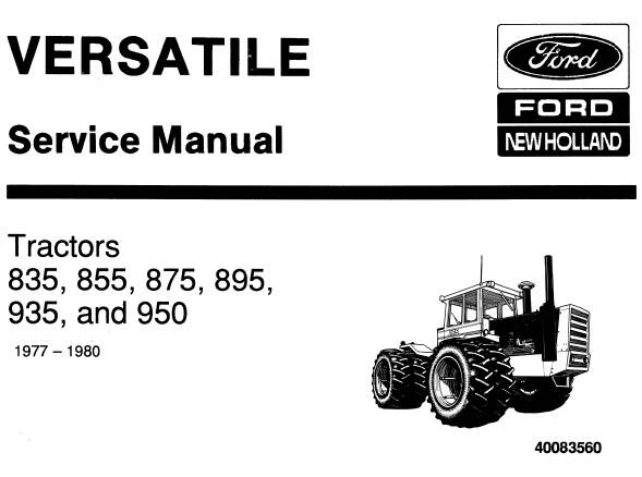 NHTR Ford New Holland 835, 855, 875, 895, 935, 950 Tractors (1977-1980) Service Repair Manual SD