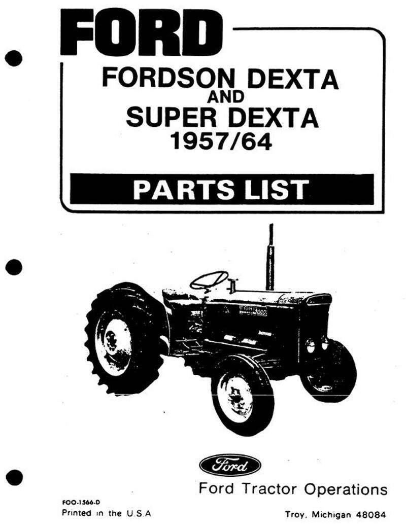 Ford Dexter and Super Dexter 1957 to 64 Parts Manual