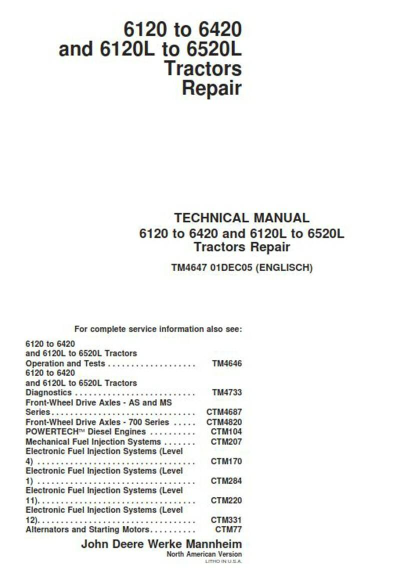 John Deere 6120 to 6420 and 6120L to 6520L Dealers Workshop Manual