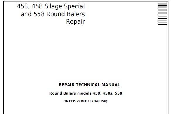 B1 John Deere 458, 458 Silage Special and 558 Round Balers Repair Technical Manual (TM1735)SD