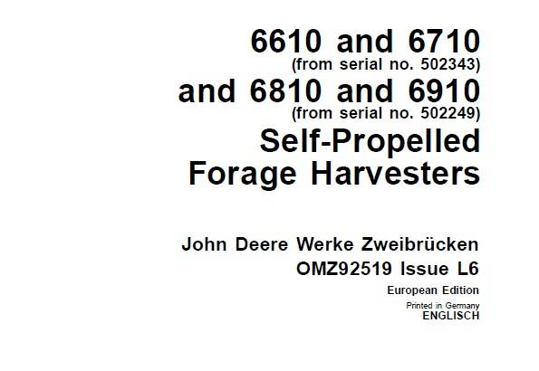 JDF John Deere 6610 , 6710 and 6810 , 6910 Self-Propelled Forage Harvesters Operator's Manual SD