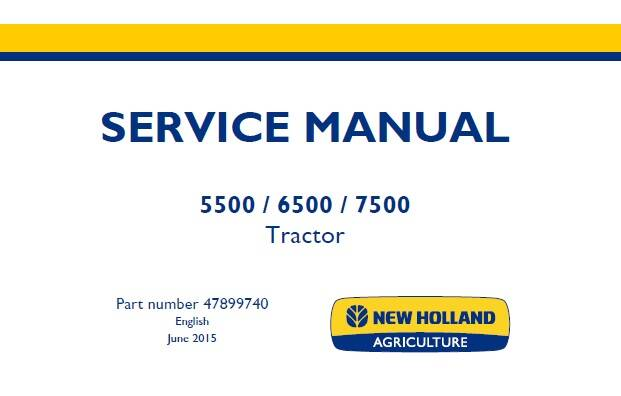 NHTR New Holland 5500, 6500, 7500 Tier 3 Tractor Service Repair Manual SD