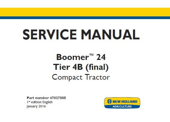 NHTR New Holland Boomer 24 Tier 4B (final) Compact Tractor Service Repair Manual SD