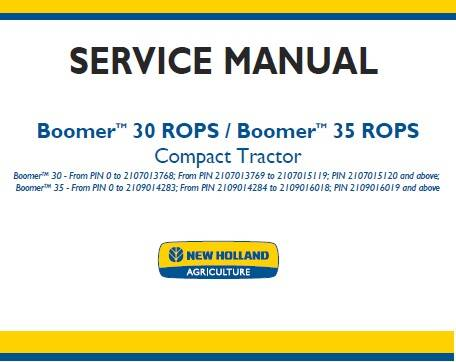 NHTR New Holland Boomer 30 ROPS , Boomer 35 ROPS Compact Tractor Service Repair Manual SD