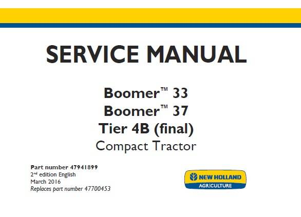 NHTR New Holland Boomer 33 , Boomer 37 Tier 4B (final) Compact Tractor Service Repair Manual SD