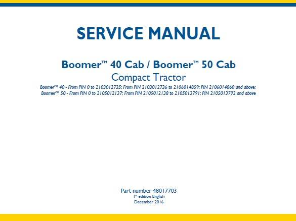 NHTR New Holland Boomer 40 Cab, Boomer 50 Cab Compact Tractor Service Repair Manual SD