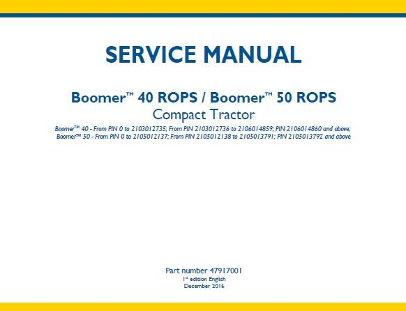 NHTR New Holland Boomer 40 ROPS , Boomer 50 ROPS Compact Tractors Service Repair Manual SD